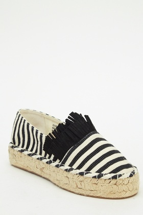 Striped Tassel Slip On Shoes