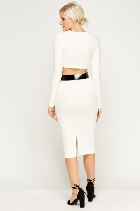 Crop Top And Skirt Ivory Set