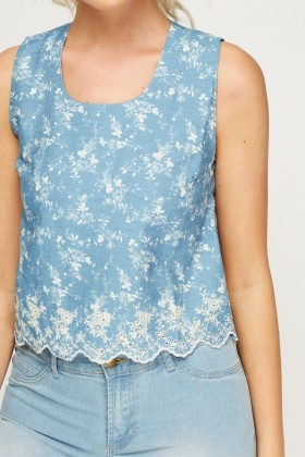 Embroidered Hem Floral Print Top