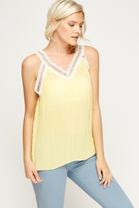 Mesh Trim Pleated A-Line Top