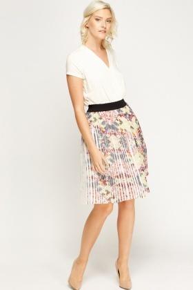 a268215619 Mix Print Pleated Midi Skirt - Just £5