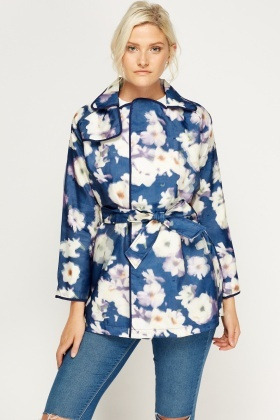 3D Floral Print Tie Up Jacket