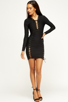 Bodycon Lace Up Black Dress