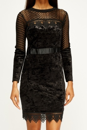 Lace Insert Velveteen Black Dress