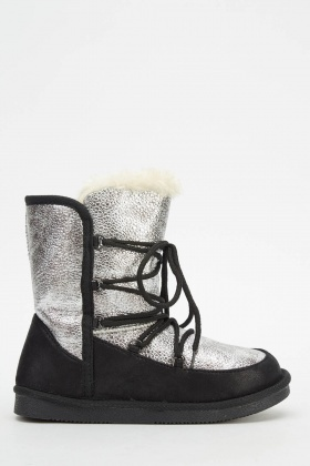 Tie Up Metallic Contrast Boots