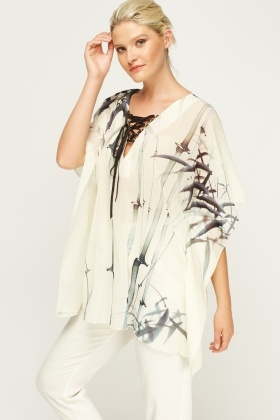 Cream Lace Up Neck Poncho Top