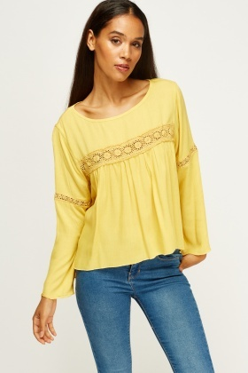Crochet Ruched Casual Top
