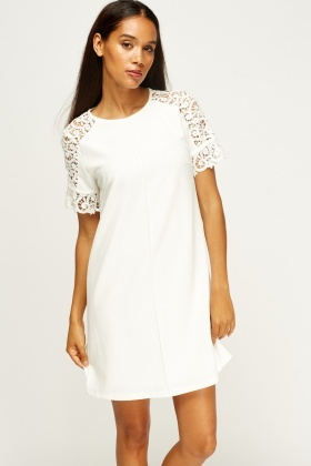 Crochet Sleeve Shift Dress