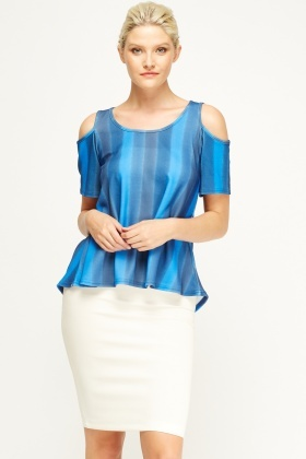 Dip Hem Cut Out Shoulder Top