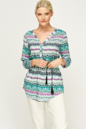 Embellished Printed Tunic Top