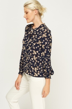 Floral Tie Up Neck Blouse