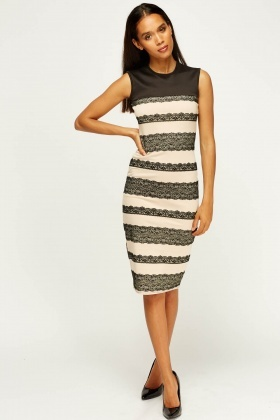 Lace Printed Bodycon Dress