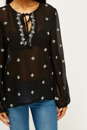 Metallic Insert Printed Blouse