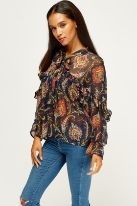 Paisley Print Sheer Blouse