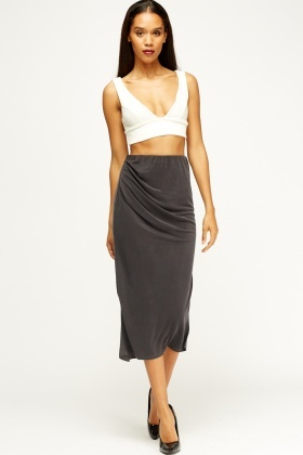 Pencil Ruched Midi Skirt