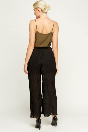 Pleated Sheer Wide Leg Trousers