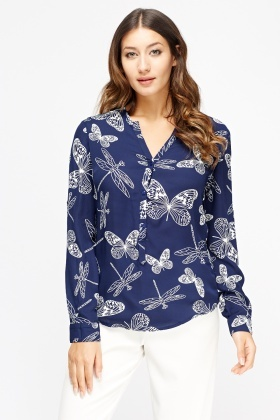 Dragonfly Printed Blouse