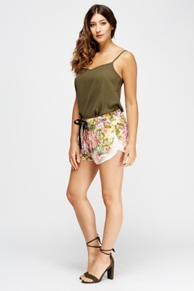Floral Print Overlay Shorts