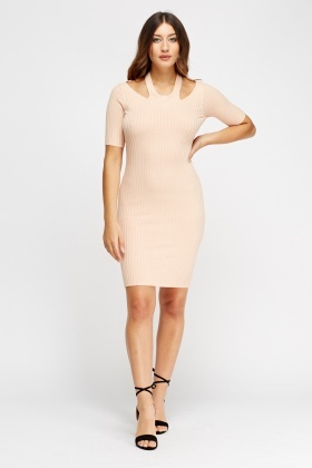 Halter Neck Ribbed Bodycon Dress