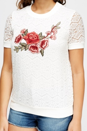 Lace Overlay Applique Top