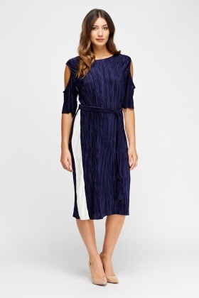 Pleated Cut Out Shoulder Midi Dress