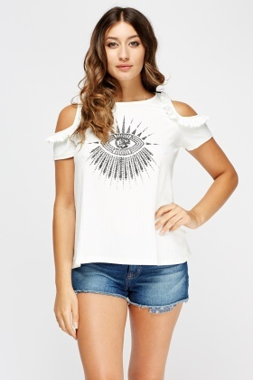Ribbed Printed Cut Out Shoulder Top