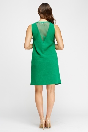 Textured Tied Neck Shift Dress