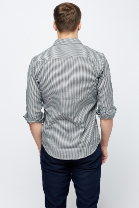 Black Check Grid Shirt - Black/White - Just £5