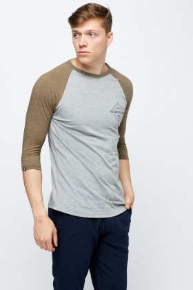 Colour Block 3/4 Sleeve T-Shirt