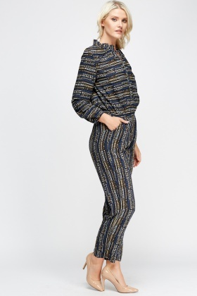 Long Sleeve Button Up Printed Jumpsuit