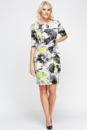 Mixed Print Midi Dress