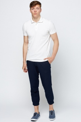 Navy Mens Casual Trousers