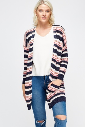 Open Front Striped Cardigan