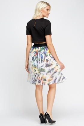 Pleated Mixed Print Skirt