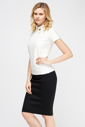 Embellished Collar Mesh Overlay Top