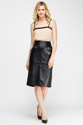 Faux Leather Midi Skirt - Just £5