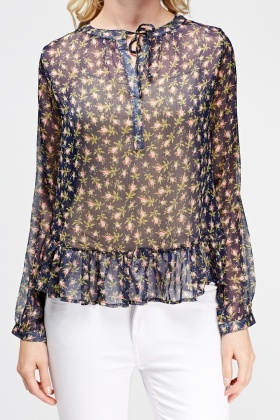 Sheer Flared Floral Blouse
