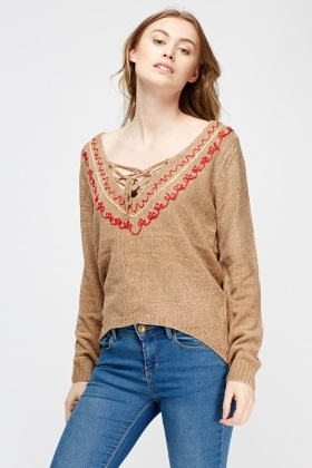 Embroidered Trim Knitted Jumper