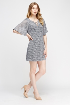 Flare Sleeve Knitted Lace Up Dress