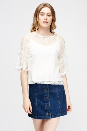 Lace Overlay Box Top