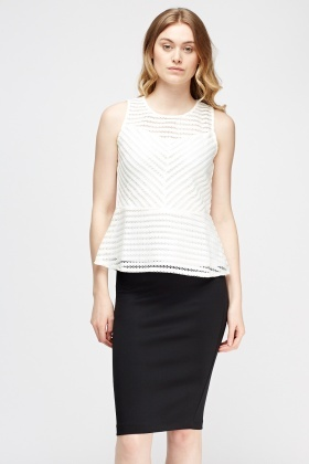 Mesh Peplum Top