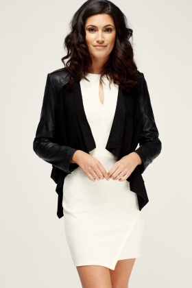 Muubaa Leather Suede Drape Biker Jacket