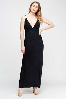 Plunge Elasticated Maxi Dress