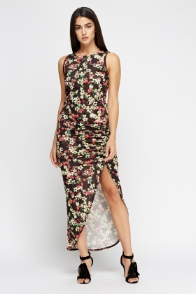 Floral Ruched Side Maxi Dress