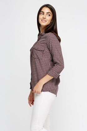 Frilled Trim Check Shirt