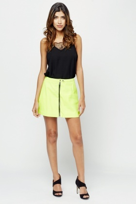Lamb Leather Acid Green Skirt