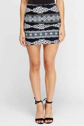 Printed Mini Skirt