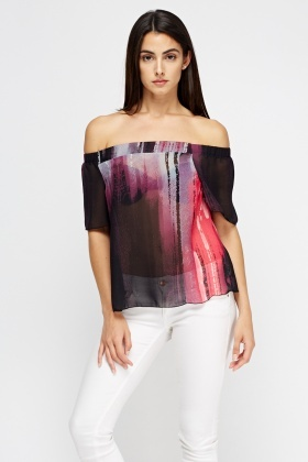 Printed Sheer Off Shoulder Top