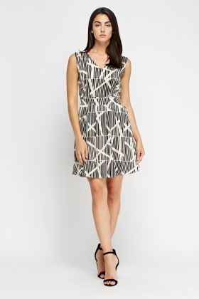 Wrapped Front Mono Skater Dress