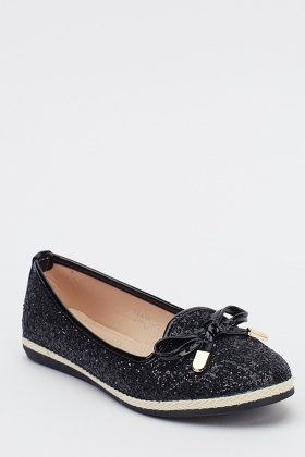 Bow Front Glittered Ballet Pumps